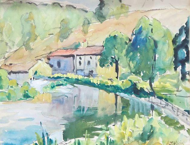 Jeanne KLEIN (1877-1966) Paysage Aquarelle sur papier, signée en ...