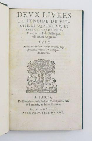 VIRGILE & DU BELLAY (Joachim). Deux livres de l'Enéide de Virgile...