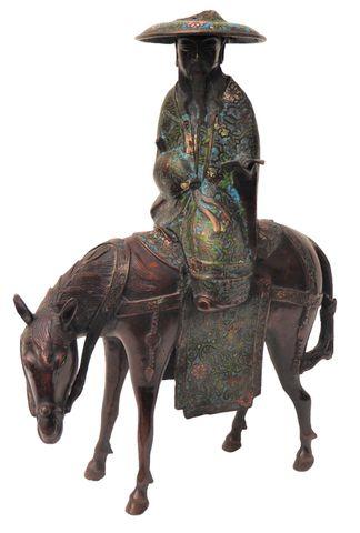 Japon Epoque MEIJI (1868-1912) Toba sur sa mule Bronze et émaux c...