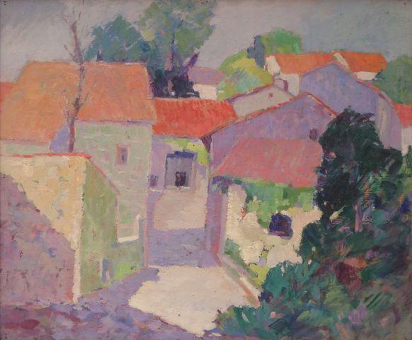 Albert MOREAU (XXème siècle) Paysage Huile sur panneau, cachet d'...