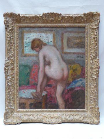 Georges D'ESPAGNAT (1870-1950) Femme à sa toilette Huile sur toil...