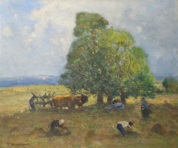 Fernand MAILLAUD (1863-1948) Paysans au champ Huile sur panneau, ...