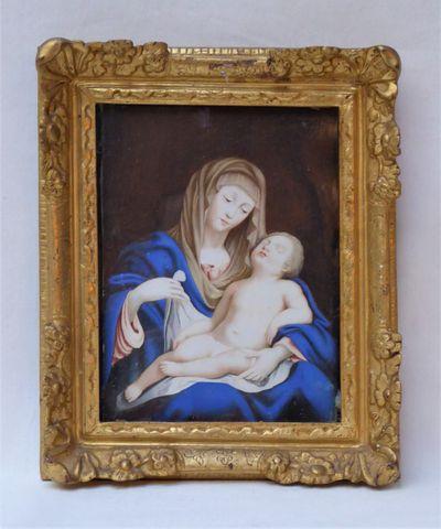 Ecole FRANCAISE XVIIIème siècle Vierge à l'Enfant Gouache sur vél...