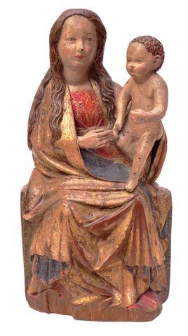 Belle Vierge à l'Enfant assise en noyer sculpté, polychromé et do...