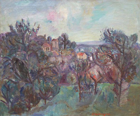 Pinchus KRÉMÈGNE (1890-1981) Céret Huile sur toile SBD 54 x 65,5 ...