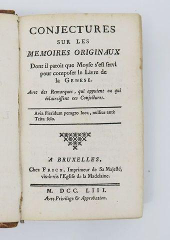[ASTRUC (Jean)]. Conjectures sur les mémoires originaux dont il p...