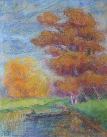 Jean PESKÉ (1870-1949) Barque en automne Pastel sur papier signé ...