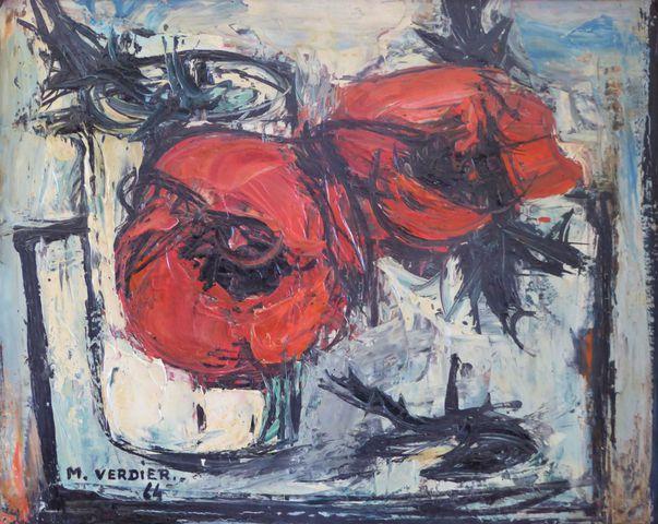 Maurice VERDIER (1919-2003) Pavots blancs Huile sur toile SBG 34 ...