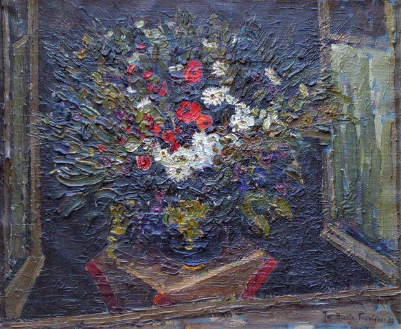 Jac MARTIN-FERRIERES (1893-1972) Bouquet de fleurs Huile sur toil...