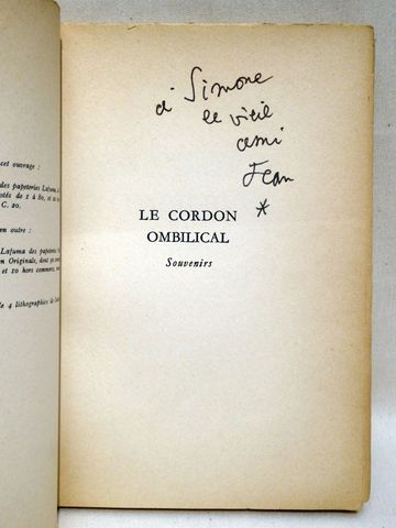 COCTEAU (Jean). Le Cordon ombilical. Paris, Plon, 1962. In-8 broc...
