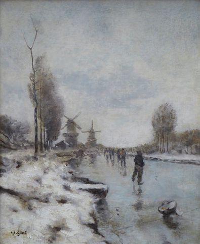 Eugène Louis GILLOT (1867/68-1925) Patineurs à Rotterdam Huile su...