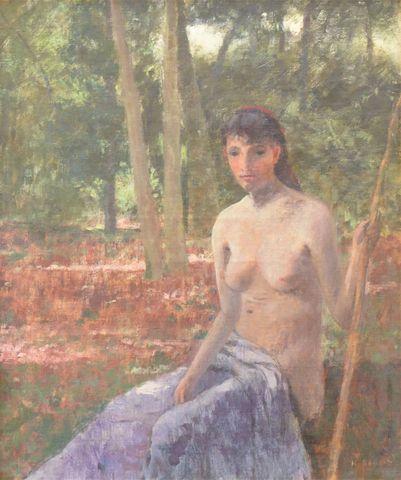 Henri Stanislas ROUART (1833-1912) Nu dans un sous-bois Huile sur...