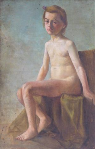 Ecole FRANCAISE XXème siècle Portrait de jeune fille nue Huile su...