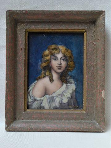 R. SARLANDIE Plaque en émail peint polychrome sur cuivre représen...