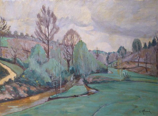 Eugène ALLUAUD (1866-1947) Ruisseau des Essarts Huile sur toile s...