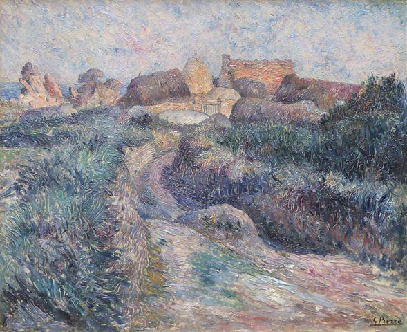 Gustave René PIERRE (1875-1939) Paysage breton Huile sur toile si...