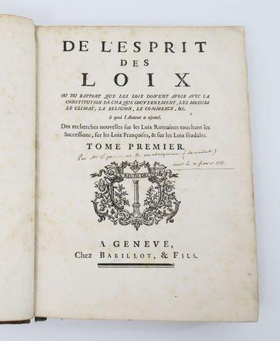 [MONTESQUIEU (Charles de Secondat de)]. De l'Esprit des loix, ou ...