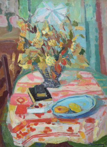 Roger Marcel LIMOUSE (1894-1989) Nature morte à la corbeille Huil...