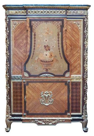 Armoire à ressaut central de style Transition en bois de placage ...