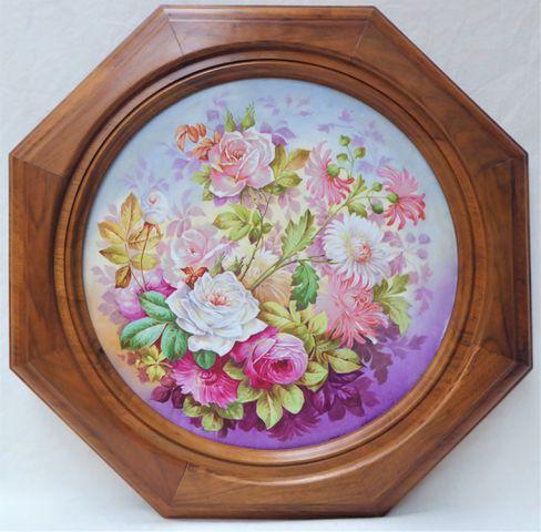 Charles AHRENFELDT Limoges Importante plaque circulaire en porcel...