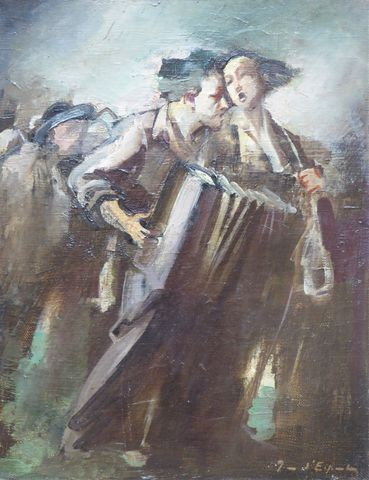 Ecole MODERNE XXème siècle L'accordéoniste Huile sur toile, signa...
