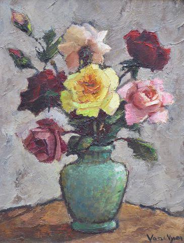 VAN DE VYVER (XXe) Bouquet de roses  Huile sur panneau signée en ...