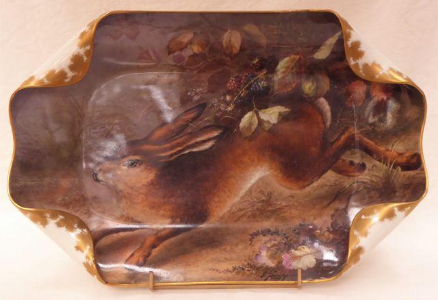 HAVILAND Fin XIXème siècle Plat à bords recourbés en porcelaine p...