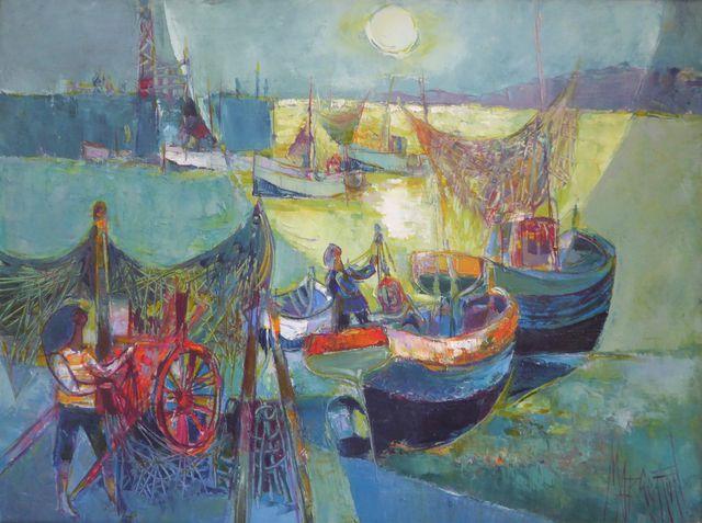 René MARGOTTON (1915-2009) Pêche à l'astre de nuit Huile sur toil...