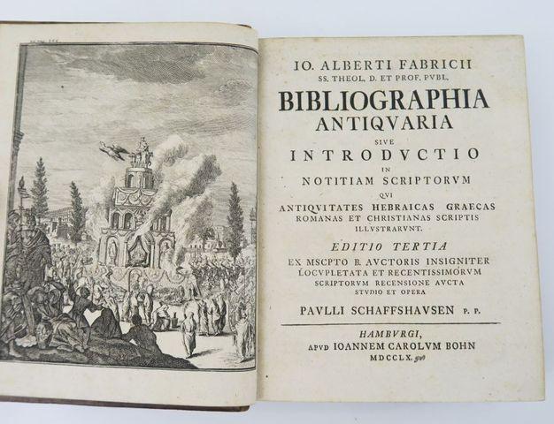 FABRICIUS (Johann Albert). Bibliographia antiquaria, sive Introdu...