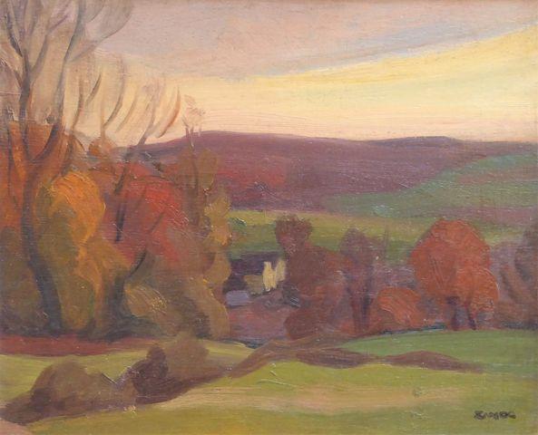 Jules Emile ZINGG (1882 - 1942) Paysage vallonné Huile sur pannea...