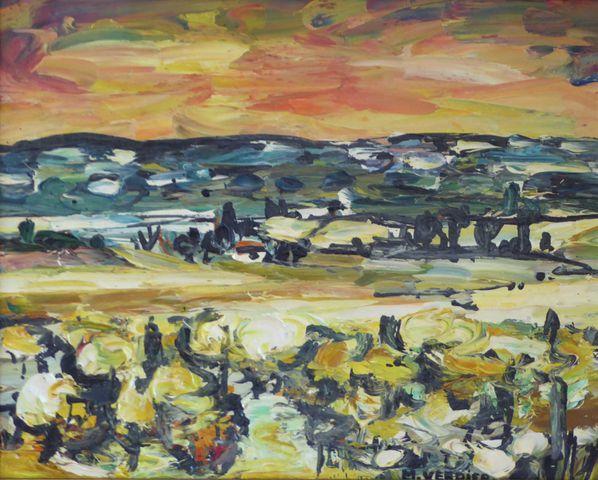 Maurice VERDIER (1919-2003) Les Corbières, coteaux au ciel orange...