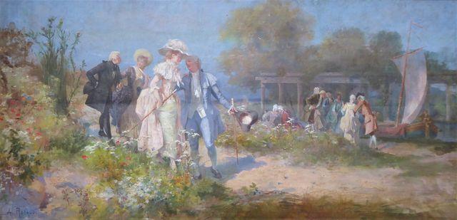 Alcide Théophile ROBAUDI (1850-1928) La promenade en campagne Hui...