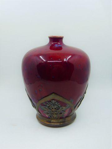 GOLFE JUAN GRES Vase de forme balustre en grès émaillé sang-de-bo...