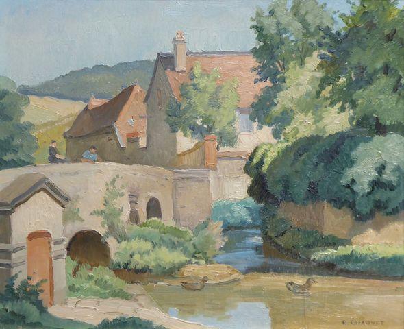 Edmond CHAUVET (1902-1969) Vue de village animé Huile sur panneau...