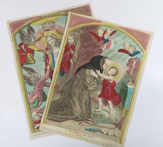 Imagerie religieuse. 2 estampes (48 x 34 cm). Estampes imprimées ...