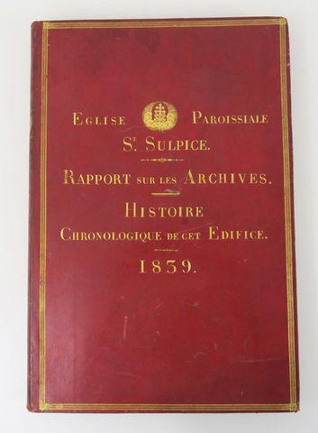 Registre de papier blanc. Église paroissiale St. Sulpice. Rapport...