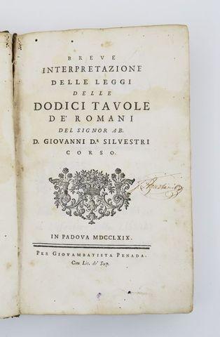 SILVESTRI Corso (Giovanni). Breve interpretazione delle leggi del...