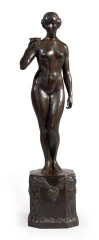 Yvonne SERRUYS (1873-1953) Femme à la coupe Bronze à patine brun-...