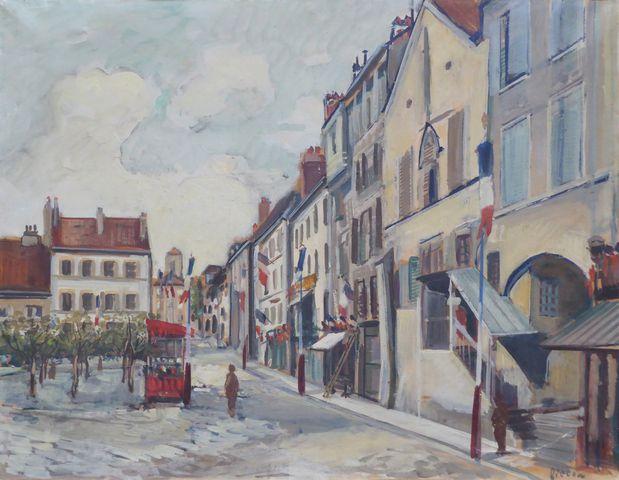 Arthur FILLON (1900-1974) La Place le 14 juillet Huile sur papier...