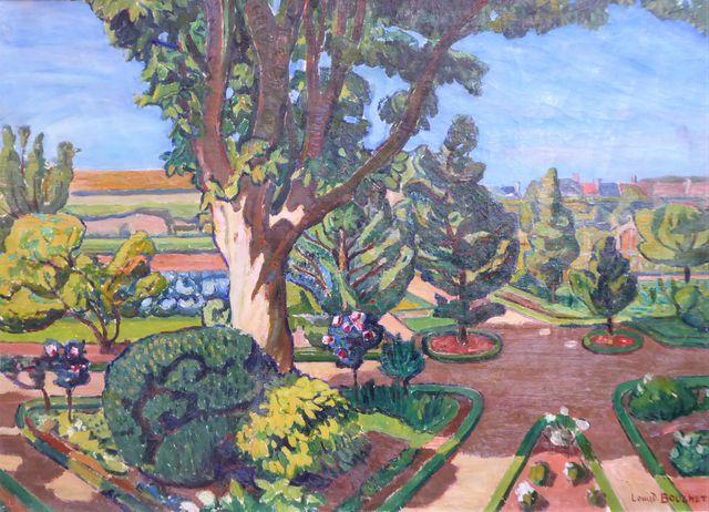Louis Daniel BOUCHET (1866-1924) Jardin à Courseules Huile sur to...