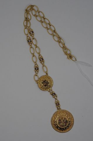 Collier et pendentif or jaune Pds 14 grs