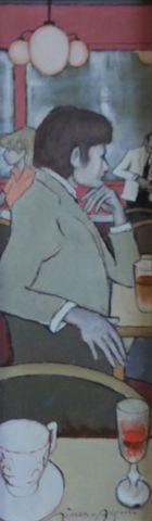 SIMON AUGUSTE (1909-1987) Jeune homme au café Huile sur toile sig...