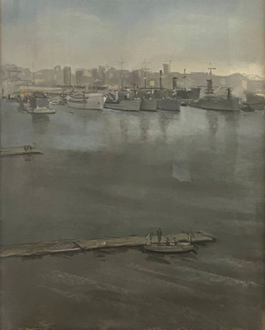Dimitri BOUCHENE (1893-1993) Toulon 1930 Gouache sur papier SBG 5...