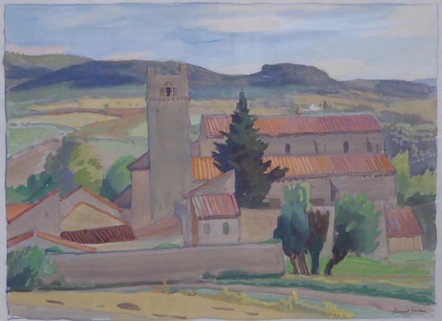 CLÉMENT-SERVEAU (1886-1972) L'Abbaye en Provence Gouache et aquar...