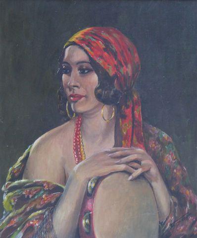 Ecole FRANCAISE XXème siècle Portrait de gitane Huile sur toile s...