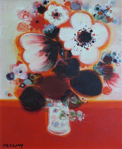 Frédéric MENGUY (1927-2007) Nature morte au bouquet de fleurs Hui...