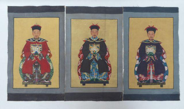 Ecole CHINOISE Fin XIXème siècle Portraits d'ancêtres Série de 3 ...