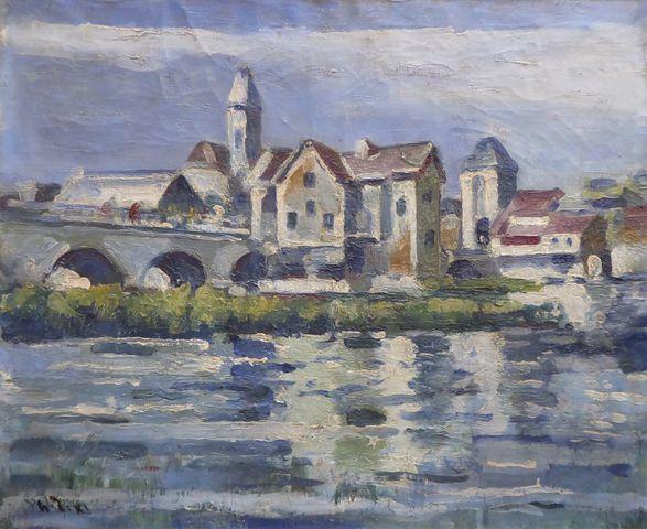 PHIDIAS (XXe) Le Pont à Moret sur Loing Huile sur toile signée en...