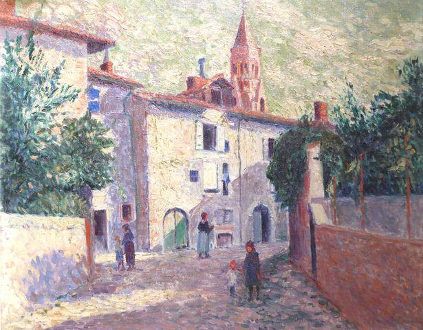 Pierre THOMAS (1865-1930) Vue animée de Saint-Léonard Huile sur t...