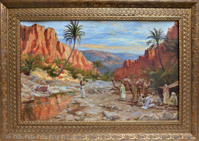 Alphonse BIRCK (1859-1942) L'oued de Bou Saada Huile sur toile ma...